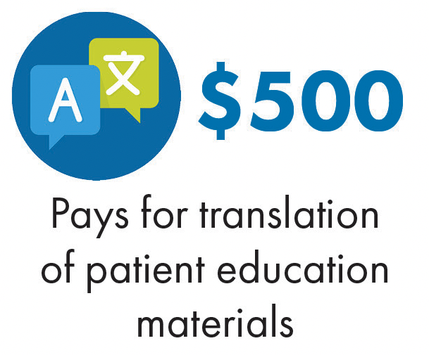 Pays for translation of patient education materials
